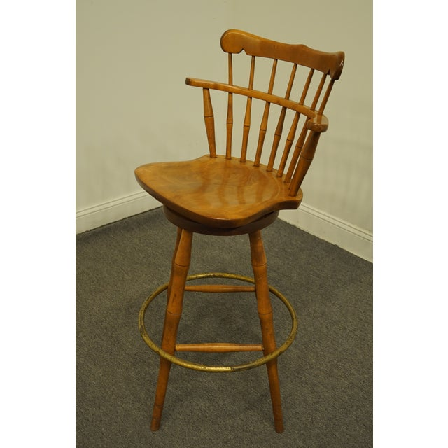 Late 20th Century S Bent Bros. Gardener Solid Maple Swivel Bar Stool For Sale - Image 9 of 13