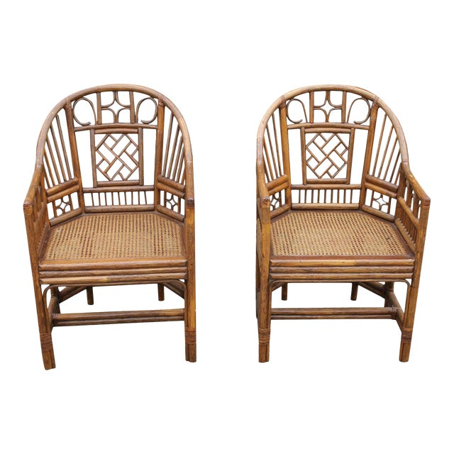 Chinoiserie Bamboo Rattan Brighton Pavilion Chairs With Caning- a Pair For Sale