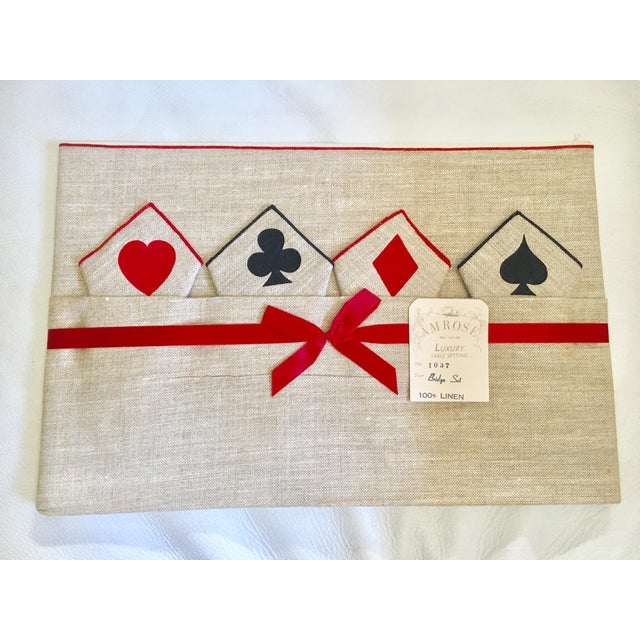 Vintage Game Table Size Tablecloth & Napkins - Set of 5 - Image 2 of 6