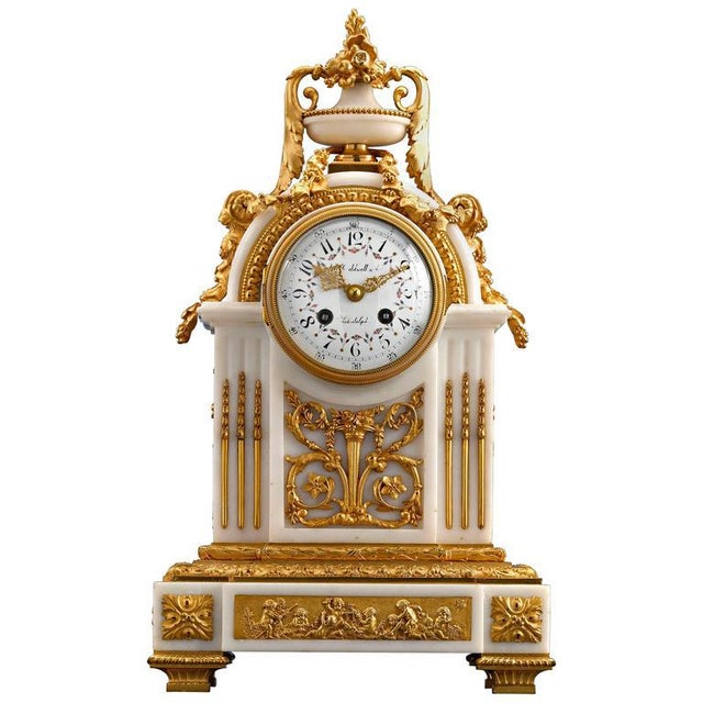 Mid 19th Century Marble and Doré Bronze Mantel Clock For Sale - Image 5 of 5