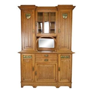 1910s Vintage Art Nouveau Oak China Cabinet For Sale