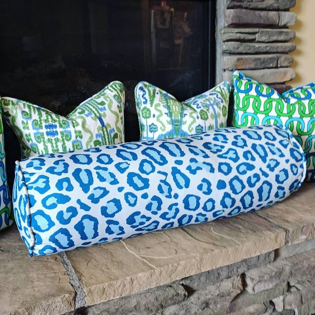 Boho Chic Blue Leopard Print Bolster Pillow For Sale - Image 3 of 4