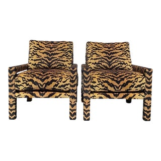 Pair of New Milo Baughman Style Parsons Chairs in Designer Tiger Fabric For Sale