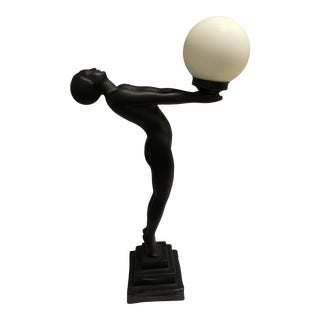 1990s Vintage Art Deco Style Large Plaster Nude With Globe Lamp For Sale