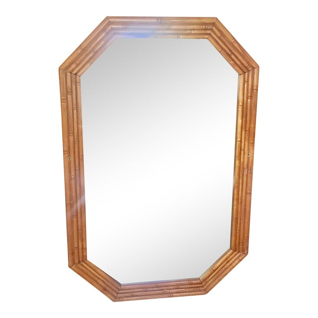Vintage Mid-Century Faux Bamboo Mirror - Image 1 of 6
