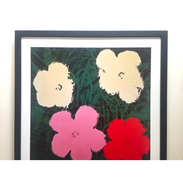 """This Andy Warhol Foundation vintage offset lithograph print custom framed Pop Art poster """" Flowers III """" 1964, is a very..."""