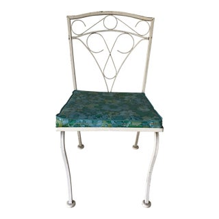 MidCentury Style Wrought Iron Chair White For Sale