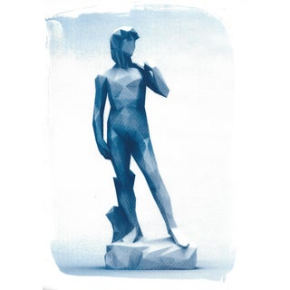 Michelangelo's David Low-Poly Sculpture, Cyanotype Print on Watercolor Paper For Sale