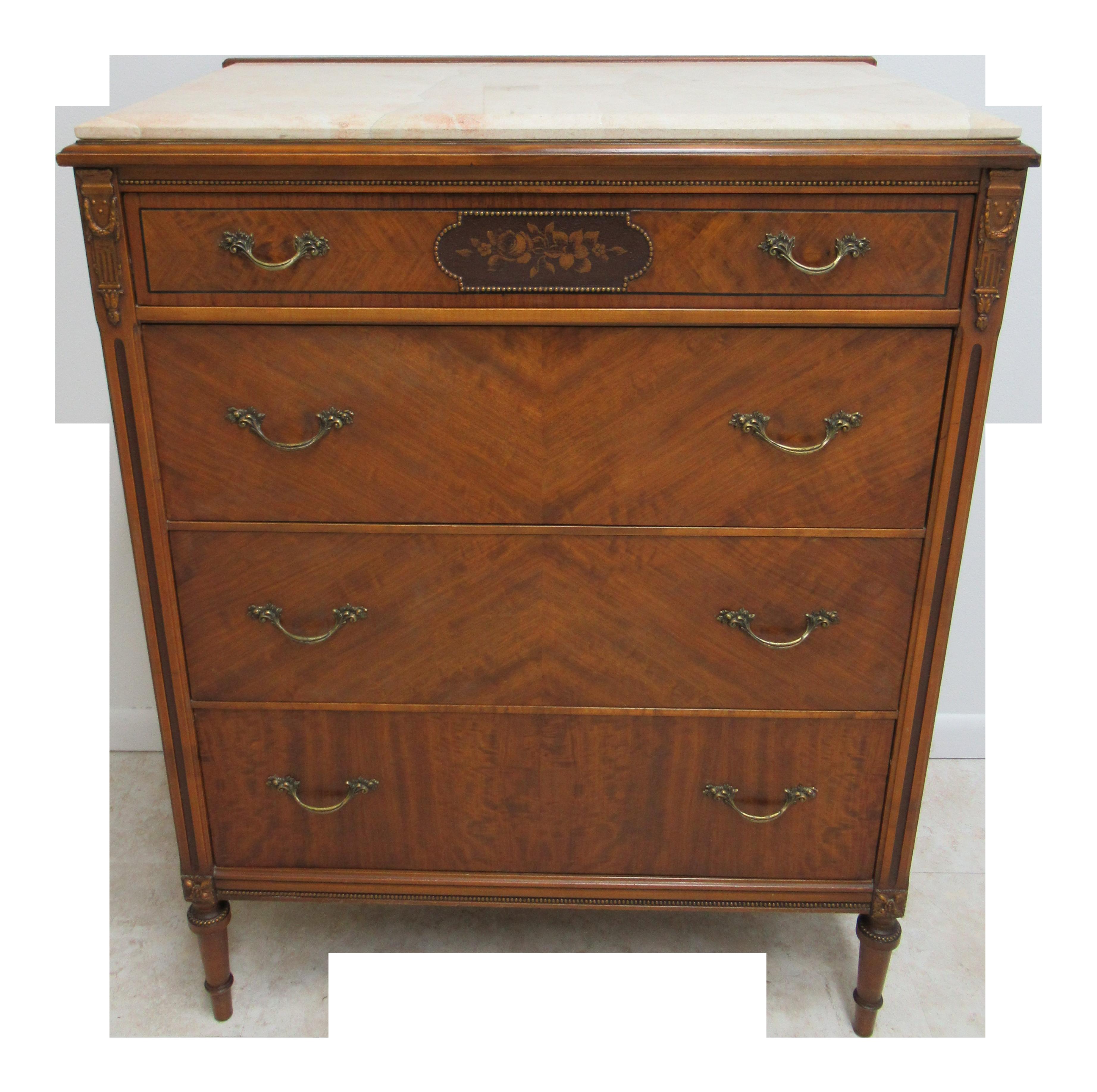 Genial 1930s Regency Sligh Lowry Furniture Walnut Marble Top High Chest Dresser |  Chairish