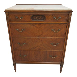1930s Regency Sligh-Lowry Furniture Walnut Marble Top High Chest Dresser For Sale