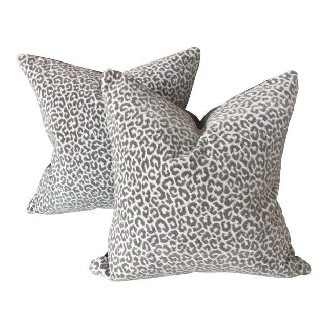 Image of Scalamandre Panther Epingle Velvet Pillows - A Pair