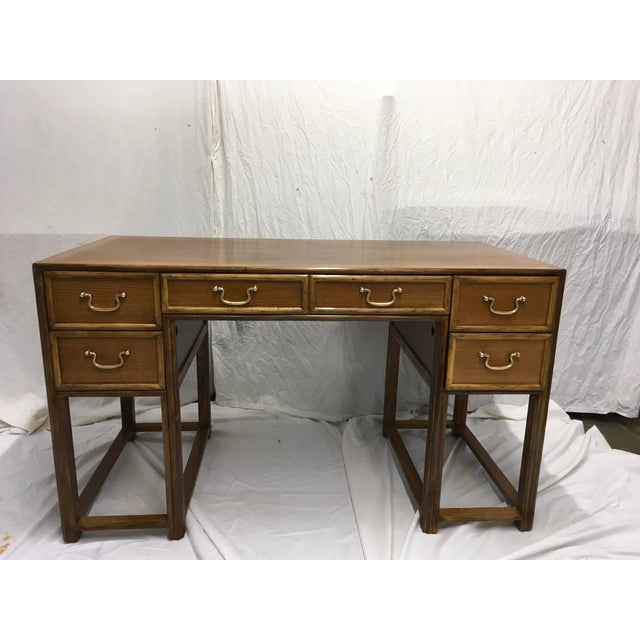 McGuire Oak and Rattan Desk For Sale - Image 10 of 10