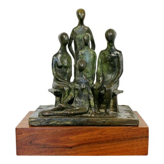 Mid Century Modern Arthur Schneider Signed Bronze Table Sculpture Wood Base 70s For Sale