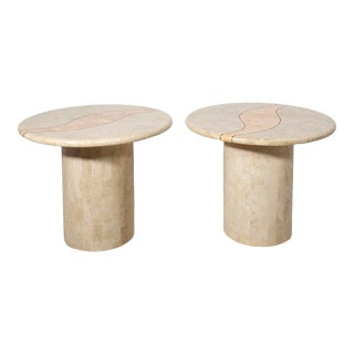 Post Modern Tessellated Stone Abstract Brass Inlay Pedestal Tables - a Pair For Sale