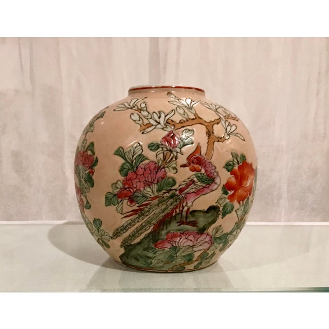 Vintage Chinoiserie Vase Floral and Bird Motif on a Peach Background For Sale In Los Angeles - Image 6 of 6