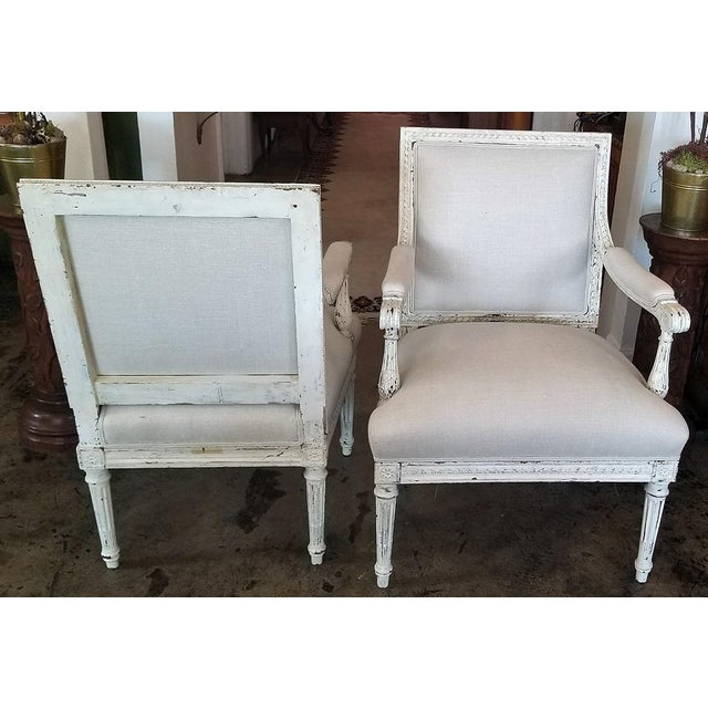 GORGEOUS PAIR of painted 19th Century French Lounge armchairs in a Louis XVI style. Provincial......circa 1860....