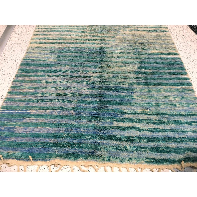 "Vintage Moroccan Aqua Berber Rug -- 5'2"" x 10'11"" - Image 4 of 9"