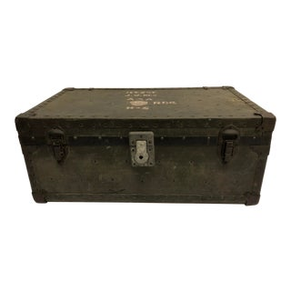 Vintage Industrial Drab Green Military Storage Trunk For Sale