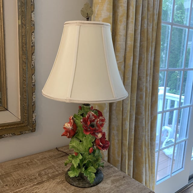 Vintage Fine Porcelain Red Anemone Flower Lamp With Shade For Sale - Image 11 of 11
