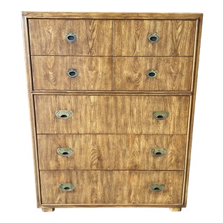 Drexel Mid Century Campaign Style 5 Drawer Highboy Chest For Sale