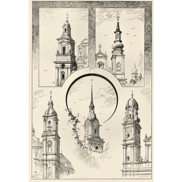 """This is one of a group of historical architectural lithographs from a French unbound album of """"Tours et Cloches"""" (Towers..."""