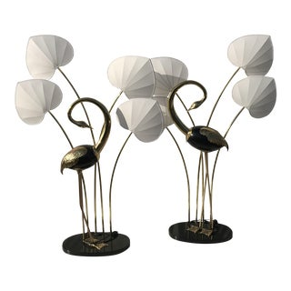Pair of Standing Egret / Flamingo Brass Floor Lamps by Antonio Pavia
