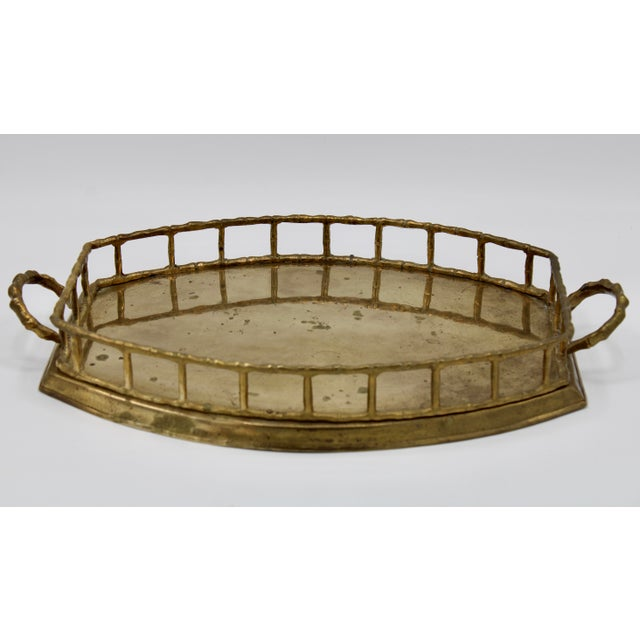 1960s Mid 20th Century Brass Bamboo Tray For Sale - Image 5 of 8
