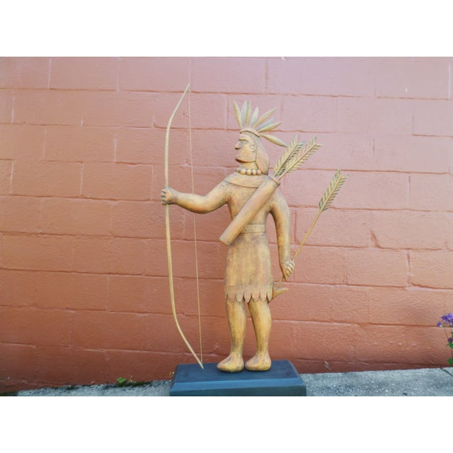 Wood Contemporary Folk Art Carving of an Indian of Impressive Size For Sale - Image 7 of 11