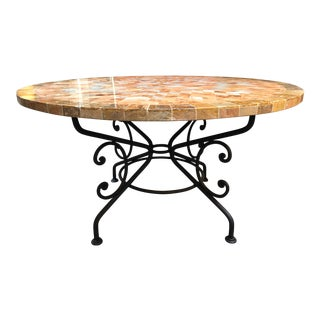 Arhaus Arabesque Iron Table With Stone Top