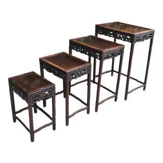 Early 20th Century Chinese Rosewood Nesting Tables - Set of 4 For Sale