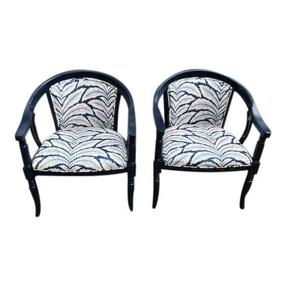 Brunschwig and Fils Navy & White Fabric Chairs - A Pair - Image 1 of 5
