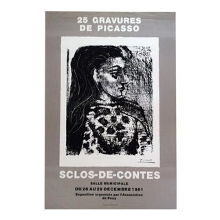 Picasso Original Art Exhibition Poster Showcasing His Rare Gravures For Sale