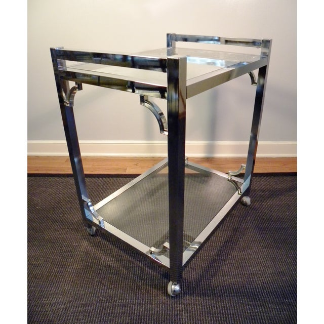 Mid-Century Chrome & Glass Bar Cart - Image 3 of 8