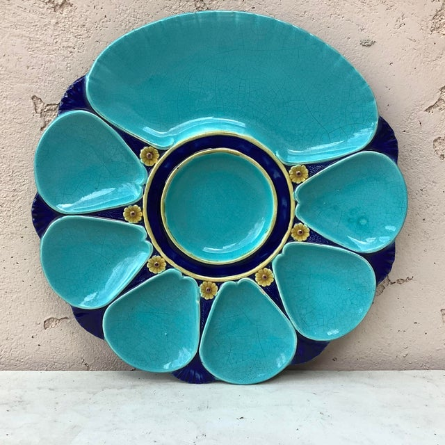 19th Century Majolica Aqua Oyster Plate Minton For Sale - Image 12 of 12