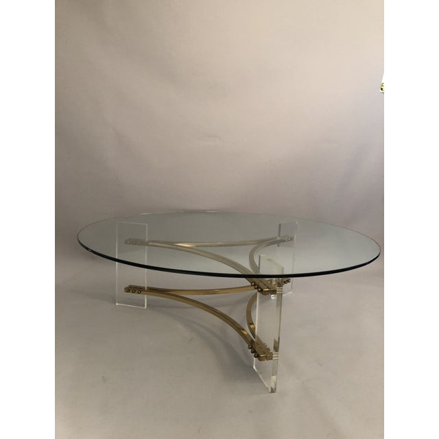 Charles Hollis Jones Brass, Glass, and Lucite Coffee Table For Sale In New York - Image 6 of 10