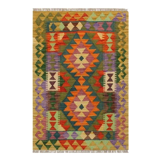 1990s Boho Chic Turkish Kilim Britteny Green/Rust Hand-Woven Rug For Sale