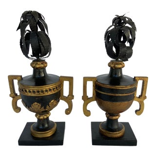 C. 1990's Black and Gold Carved Urns - a Pair For Sale