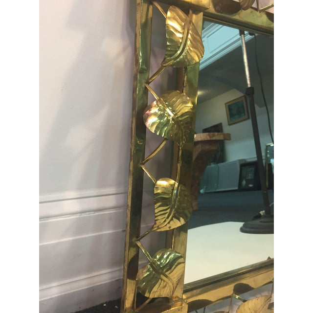 Metal Modern Brass Stylized Flower and Leaves Mirror For Sale - Image 7 of 11