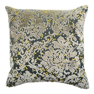 Italian Damask Green, Gray and Yellow Velvet Pillow For Sale