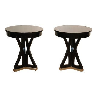 Pair of Black Contemporary Round End Tables With Metal Bases For Sale