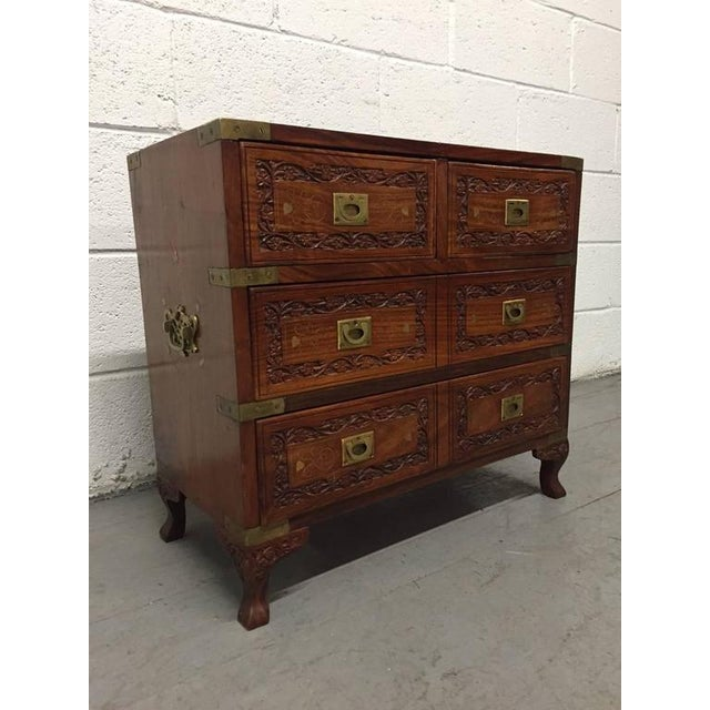 Pair of Vintage Mahogany and Brass Inlay Campaign Chests - Image 5 of 9