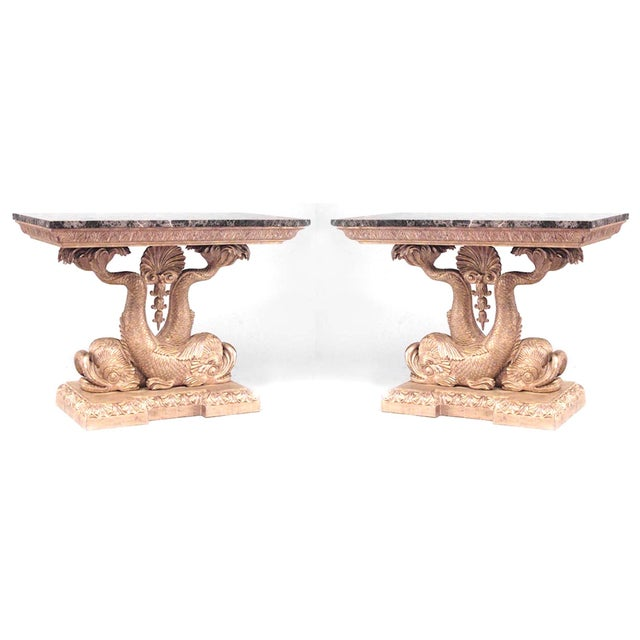 Gold Pair of English Regency Style Giltwood Console Tables For Sale - Image 8 of 8