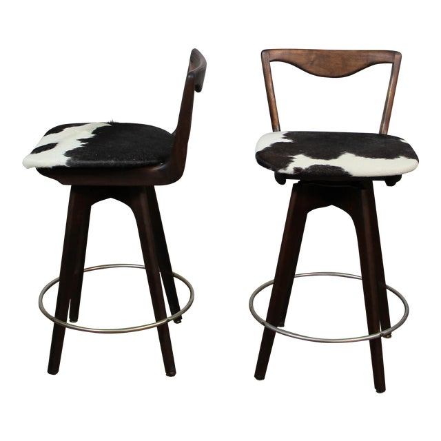 Mid Century Danish Swivel Bar Stools- A Pair For Sale