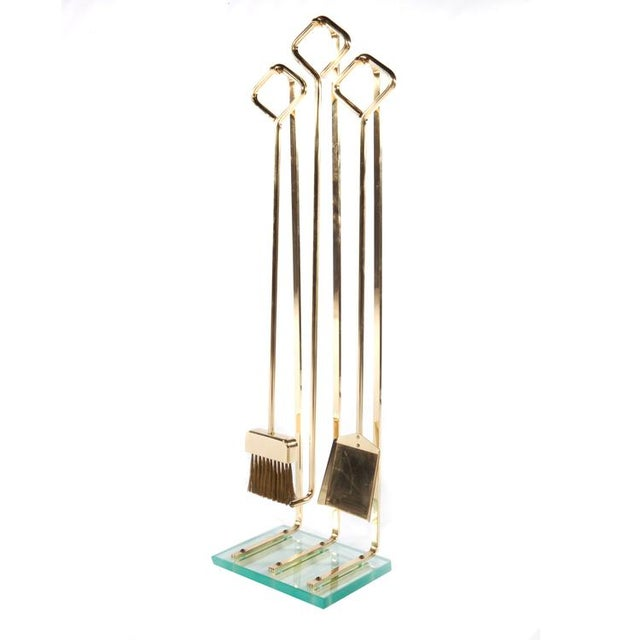 Art Deco 1970's VINTAGE BRASS AND GLASS FIREPLACE TOOL SET For Sale - Image 3 of 11