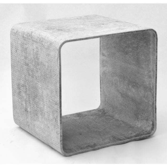 Iconic Willy Guhl 1960s cement and fiber modular cubes, used for stacking or side by side. Swiss neo-functionalist...