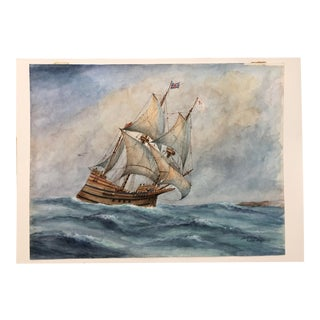 "1970s Stuart Upham ""Mayflower II Clipper Ship"" Watercolor Painting For Sale"