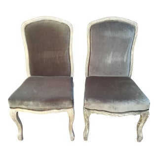1920s Vintage Wood and Velvet Chairs- a Pair For Sale