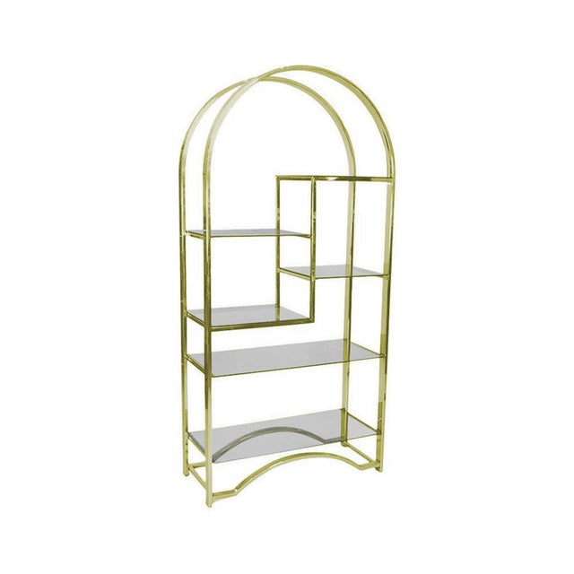 Milo Baughman Style Gold Etagere - Image 2 of 3