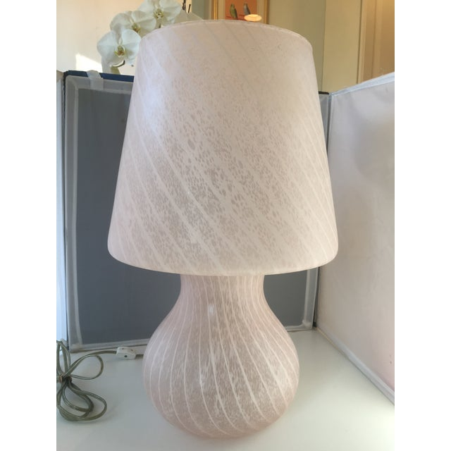 Mid-Century Pink Murano Glass Mushroom Lamp - Image 2 of 8