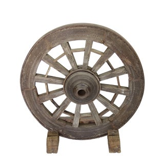 19th Century Wooden Wheel Wine Holder